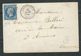 FRANCE 1859 N° 14 S/Lettre Obl. PC 1035 Crévecoeur - 1853-1860 Napoleone III