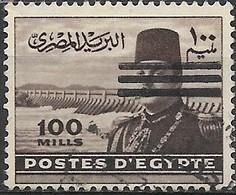 EGYPT 1953 King Farouk & Aswan Dam Oblliterated By Three Bars - 100m - Purple FU - Egypt
