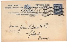 Postal Stationery Halifax Canada 1905 Entier Postal C.F. Longley & Co - 1903-1954 Rois