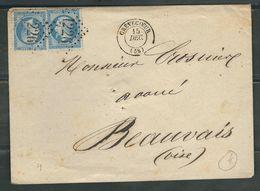 FRANCE 1863 N° 22 X 2 S/Lettre Obl. GC 1226 Crévecoeur - 1862 Napoleon III