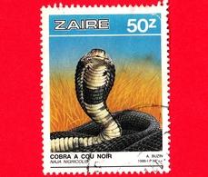 ZAIRE - Usato - 1987 - Rettili - Serpenti - Cobra (Naja Nigricolis) - 50 - Strappato In Alto A Dx - Zaire
