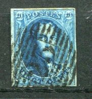 9125  BELGIQUE N°11a°  20c. Bleu (Médaillon Aplati)  Léopold 1er   1858-61   B/TB - 1858-1862 Médaillons (9/12)