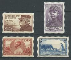 FRANCE 1940 . Série N° 454 à 457 . Neufs ** (MNH) - France