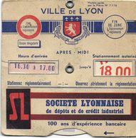 ANCIEN DISQUE DE CONTRÔLE DE STATIONNEMENT VILLE DE LYON PUBLICITÉ BANQUE SOCIÉTÉ LYONNAISE  AUTOMOBILE-CLUB DU RHONE - Transports