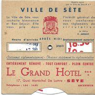 ANCIEN DISQUE DE CONTRÔLE DE STATIONNEMENT VILLE DE SETE PUBLICITÉ LE GRAND HOTEL  RESTAURANT LA ROTONDE - Transports