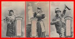 3 CPA FANTAISIES. Les Mois Comiques, Janvier, Février, Mars Calendrier De 1904...H733 - Autres