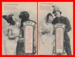 2 CPA FANTAISIES. Les Mois Comiques, Mai, Juin Calendrier De 1904...H734 - Autres
