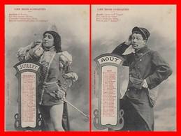 2 CPA FANTAISIES. Les Mois Comiques, Juillet, Août Calendrier De 1904...H735 - Autres