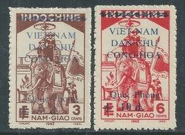 Viêt-Nam Du Nord N° 19 / 20 X  Timbres D'Indochine Surchargés : Les 2 Vals Trace Char., Dentelure Habituelle Sinon TB - Viêt-Nam