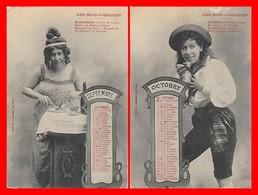 2 CPA FANTAISIES. Les Mois Comiques, Septembre, Octobre Calendrier De 1904...H736 - Other
