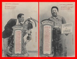 2 CPA FANTAISIES. Les Mois Comiques, Novembre, Décembre Calendrier De 1904...H737 - Autres