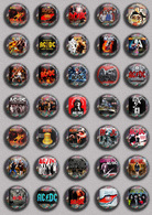 ACDC BAND Music Fan ART BADGE BUTTON PIN SET 2 (1inch/25mm Diameter) 35 DIFF - Musique
