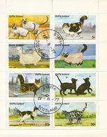 """STAFFA - 1977- Foglietto Usato Con 8 Valori Sul Tema """"gatti"""". - Regionali"""