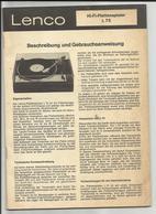 Notices Platine Disques Lenco L75 Et Enceinte Dual CL 100 - Musique & Instruments