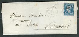 FRANCE 1860 N° 14 S/Lettre Obl. PC 884 Clermont De L'Oise - 1853-1860 Napoleon III