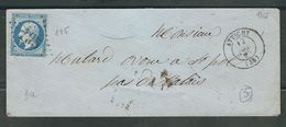 FRANCE 1865 N° 22 S/Lettre Obl. GC 195 Attichy - 1862 Napoleon III