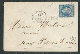 FRANCE 1864 N° 22 S/Lettre Obl. GC 195 Attichy - 1862 Napoleon III