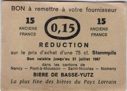 Ancien Ticket De Réduction D'une 75 Cl - Bière De BASSE YUTZ - 1967 - Autres Collections