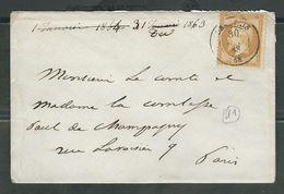 FRANCE 1863 N° 21 S/Lettre Obl. C à D Beauvais - 1862 Napoleon III