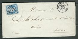 FRANCE 1866 N° 22 S/Lettre Obl. GC 404 Beauvais - 1862 Napoléon III