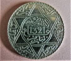 MAROC 10 DIRHAMS (1 RIAL) ARGENT AH 1321 (1904) PARIS - Morocco