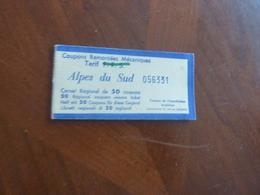 MONTAGNE ALPES DU SUD CARNET REGIONAL 15 COUPONS REMONTEES MECANIQUES CIRCA 1954 - Transportation Tickets
