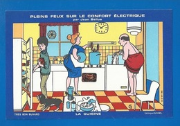BUVARD ILLUSTRATEUR BELLUS - L'ÉLECTRICITÉ,  LE CONFORT DANS LA CUISINE - Electricity & Gas