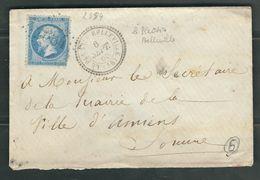 FRANCE 1866 N° 14 S/Lettre Obl. GC 2884 Le Plessis Belleville (indice 6) - 1862 Napoleon III