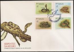 """Macau Macao Chine FDC 1989 - Serpentes Da Região - Stamp Exhibition """"Philexfrance '89 Snakes Of Macau - MNH/Neuf - FDC"""