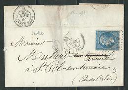 FRANCE 1868 N° 22 S/Lettre Obl. GC 3374 Senlis - 1862 Napoleon III