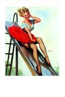 Pin Ups Of GIL ELVGREN Postcard RPPC - (91) Up And Cunning, 1955 - Size 15x10 Cm.aprox. - Pin-Ups