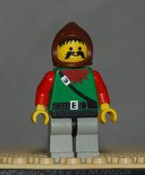 Lego Personnage Foret Jambes Gris Clair Bras Rouge, Hanches Noir, Capuche Brune Ref Cas009 - Lego Technic
