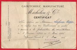 - CERTIFICAT De TRAVAIL - CAOUTCHOUC MANUFACTURE MICHELIN & Cie -- - 1900 – 1949