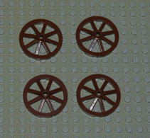 Lego Lot 4 Roue Wagon Ou Charrette Brun  Large 33 Mm Ref 4489 - Lego Technic