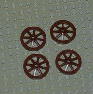Lego Lot 4 Roue Wagon Ou Charrette Brun Large 27 Mm Ref 2470 - Lego Technic