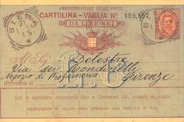 ITALY - CARTOLINA - VAGLIA 1894 SIENA -> FIRENZE Mi #A25 - 1878-00 Umberto I