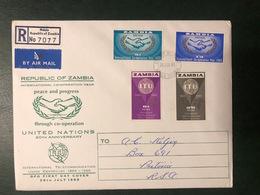 MiNr. 18 - 21 Sambia 1965, 26. Juli. 100 Jahre Internationale Fernmeldeunion (ITU). RaTdr.; Gez. K 14:14. - Zambia (1965-...)
