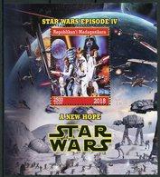 Madagascar 2018 CTO Star Wars New Hope Luke Skywalker Darth Vader Princess Leia 1v M/S Movies Stamps - Disney