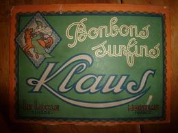 Vers 1930 Carton Publicitaire BONBONS Surfins KLAUS (Le Locle,Suisse) (Morteau,France),dim  32.5cm X 24.0cm ,recto Verso - Targhe Di Cartone