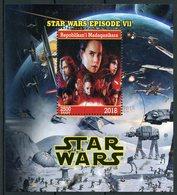 Madagascar 2018 CTO Star Wars Force Awakens Luke Skywalker Rey Kylo Ren Princess Leia 1v M/S Movies Stamps - Disney
