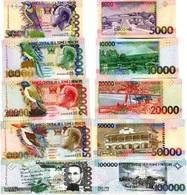 SAINT THOMAS & PRINCE Set (5v) 5000, 10000, 20000, 50000, 100000 Dobras P 65a, 66d, 67d, 68a, 69c UNC - Sao Tomé Et Principe