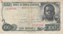 BILLETE DE GUINEA ECUATORIAL DE 100 BIPKWELE DEL AÑO 1979  (BANKNOTE) RARO - Aequatorial-Guinea