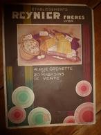 Vers 1930 Carton Publicitaire Ets REYNIER Frères à Lyon --> Oeufs-Gruyère-Beurre-Saucisson)..etc :dim 30 X 22cm - Plaques En Carton