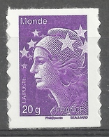 """France, """"Marianne De Beaujard"""", """"Worldwide 20g"""", 2011, MNH VF Self-adhesive Stamp - France"""