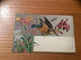 Marque-place Ch. D PARIS « Oiseau, Fleur (iris) » - Menus