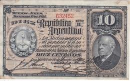 BILLETE DE ARGENTINA DE 10 PESOS DEL AÑO 1890  (BANKNOTE) - Argentina