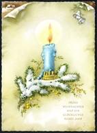 B8042 - TOP Glückwunschkarte - Weihnachten - Tannenzweig Kerze Golddruck - PZB - Non Classificati
