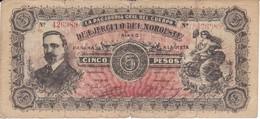 BILLETE DE MEXICO DE 5 PESOS DEL AÑO 1915 DEL EJERCITO DEL NOROESTE  (BANKNOTE) RARO - Mexico