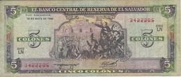 BILLETE DE EL SALVADOR DE 5 COLONES DEL AÑO 1990 DE CRISTOBAL COLON   (BANKNOTE) - Salvador