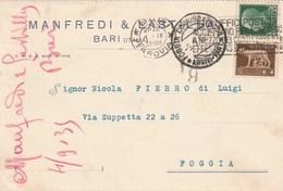 7695.   Cartolina Commerciale - Manfredi & Lastilla - Bari Per Foggia 1935 - Commercio